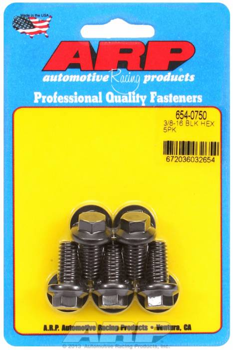 "ARP - ARP6540750 - ARP Bulk Fasteners 3/8""-16 X .750"" Black Oxide, Hex Head, 3/8"" Wrenching - 5 Pack"