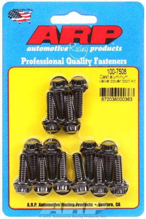 "ARP - ARP1007508 - ARP Valve Cover Bolt Kit - For Cast Aluminum Covers- 1/4""-20 X .812"" - Black Oxide - 12 Point Head-Qty.-14"