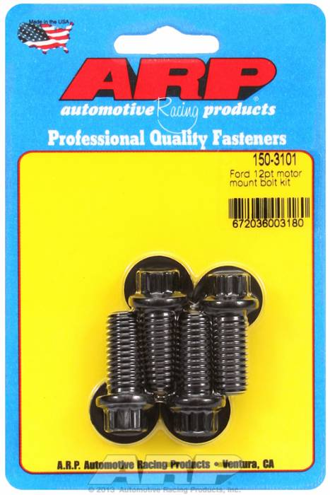 ARP - ARP1503101 - ARP Motor Mount Bolt Kit- Ford Windsor- Black Oxide- 12 Point Head