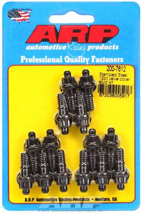 "ARP - ARP2007612 - ARP Valve Cover Stud  Kit - For Cast Stamped Steel Covers- 1/4""-20 X 1.170"" - Black Oxide - 12 Point Head-Qty.-14"