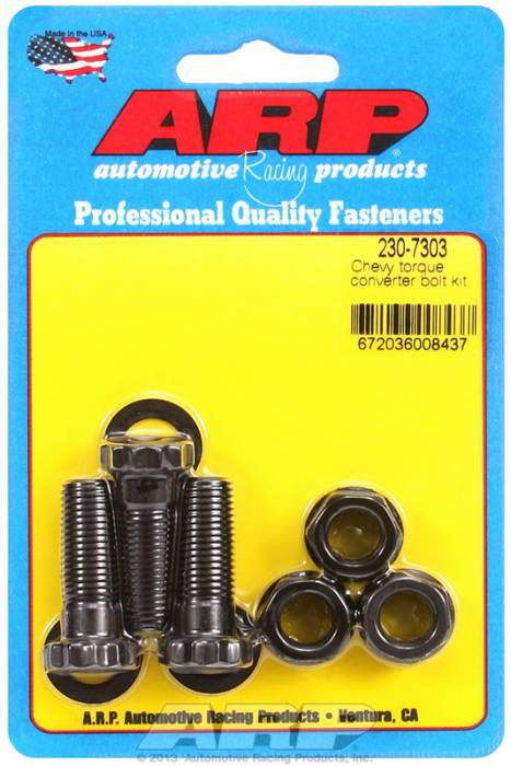 "ARP - ARP2307303 - ARP Heavy Duty Torque Converter Bolt Kit- Gm Th 350, 400,200R4  With 10"" Race Converter - 7/16""-20 X 1.250 Nut And Bolt - Black Oxide, 12 Point"