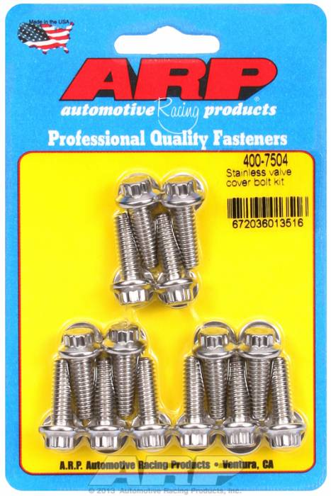 "ARP - ARP4007504 - ARP Valve Cover Bolt Kit - For Cast Aluminum Covers- 1/4""-20 X .812"" - Stainless Steel - 12 Point Head-Qty.-14"