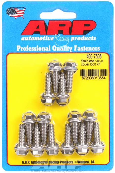 "ARP - ARP4007508 - ARP Valve Cover Bolt Kit - For Cast Aluminum Covers- 1/4""-20 X .812"" - Stainless Steel - 6 Point Head-Qty.-14"