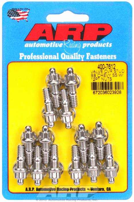 "ARP - ARP4007612 - ARP Valve Cover Stud  Kit - For Cast Stamped Steel Covers- 1/4""-20 X 1.170"" - Stainless Steel - 12 Point Head-Qty.-14"