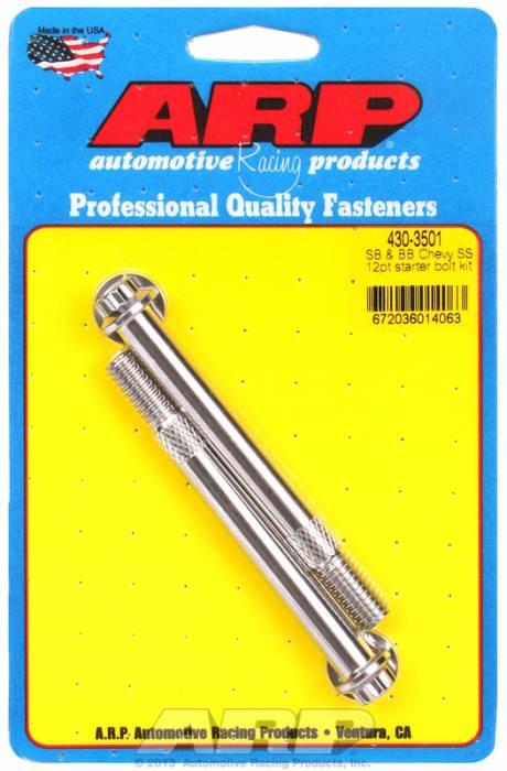 ARP - ARP4303501 - ARP Stainless Starter Bolts, Chevy Standard & Oem High Torque Starters, 3/8-16, 3.760 Uhl, 12 Point Head