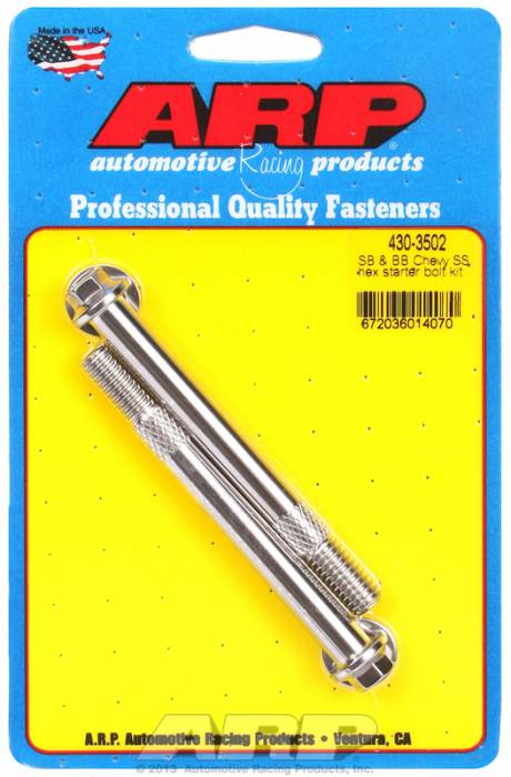 ARP - ARP4303502 - ARP Stainless Starter Bolts, Chevy Standard & Oem High Torque Starters, 3/8-16, 3.760 Uhl, Hex Head