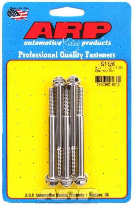 """ARP - ARP6213250 - ARP Sae Bolt Kit, 1/4-20, 3.250 Uhl, 1.000 Thread Length, 2.250 Grip Length, 5/16"""" Wrenching, Stainless Steel, Hex Head, 5 Pack"""