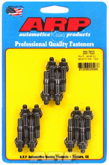 "ARP - ARP2007620 - ARP Valve Cover Stud  Kit - For Cast Aluminum Covers- 1/4""-20 X 1.50"" - Black Oxide - 12 Point Head-Qty.-12"