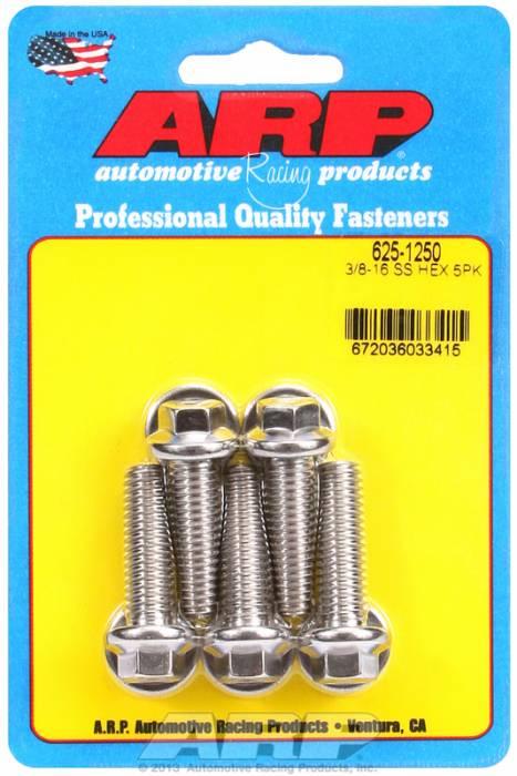 """ARP - ARP6251250 - ARP Bulk Fasteners - 3/8""""-16 X 1.25"""" Hex Head, Stainless, 5 Pack"""