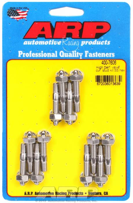 """ARP - ARP4007606 - ARP Valve Cover Stud Kit - For Cast Aluminum Covers- 1/4""""-20 X 1.50"""" - Stainless Steel - 6 Point Head-Qty.-12"""