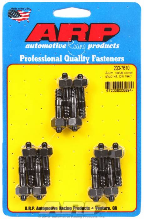 "ARP - ARP2007610 - ARP Valve Cover Stud  Kit - For Cast Aluminum Covers- 1/4""-20 X 1.50"" - Black Oxide -6 Point Head-Qty.-12"