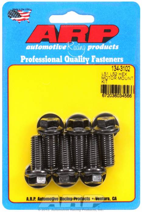 ARP - ARP1343102 - ARP Motor Mount Bolts LS1/LS2, Hex Head-Black Oxide