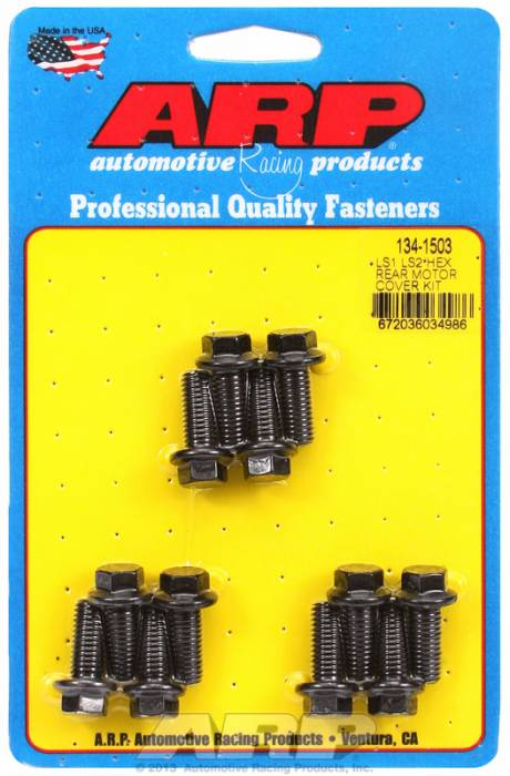 ARP - ARP1341503 - Gen III/LS Series Small Block, Rear Motor Cover Bolt Kit, Black Oxide Hex Head