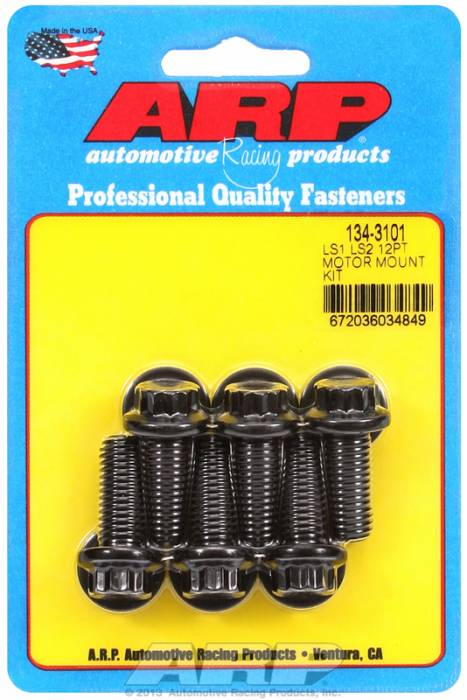 ARP - ARP1343101 - ARP Motor Mount Bolt Kit - LS1/LS2, Black Oxide-12 Point Head
