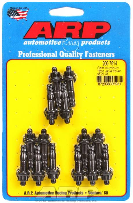 "ARP - ARP2007614 - ARP Valve Cover Stud  Kit - For Cast Aluminum Covers- 1/4""-20 X 1.50"" - Black Oxide - 12 Point Head-Qty.-14"