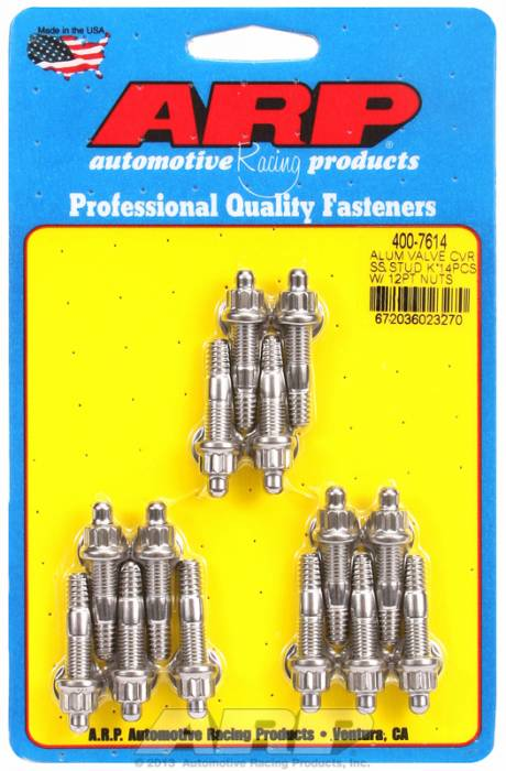 """ARP - ARP4007614 - ARP Valve Cover Stud  Kit - For Cast Aluminum Covers- 1/4""""-20 X 1.50"""" - Stainless Steel - 6 Point Head-Qty.-14"""