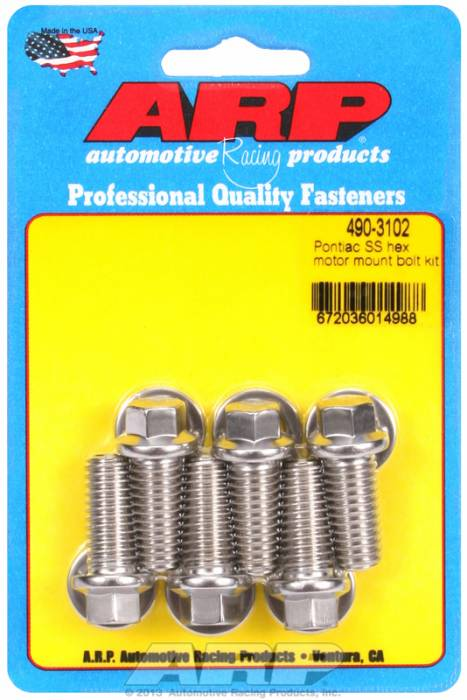 ARP - ARP4903102 - ARP Motor Mount Bolt Kit- Pontiac V8-Stainless Steel- 6 Point Head