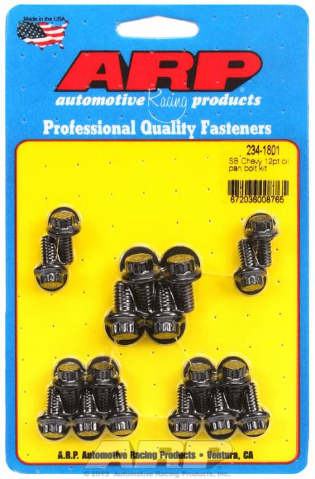 ARP - ARP2341801 - ARP Oil Pan Bolt Kit-  Small Block Chevy- Black Oxide- 12 Point