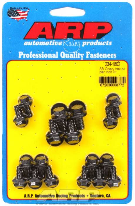 ARP - ARP2341802 - ARP Oil Pan Bolt Kit- Small Block Chevy- Black Oxide- 6 Point
