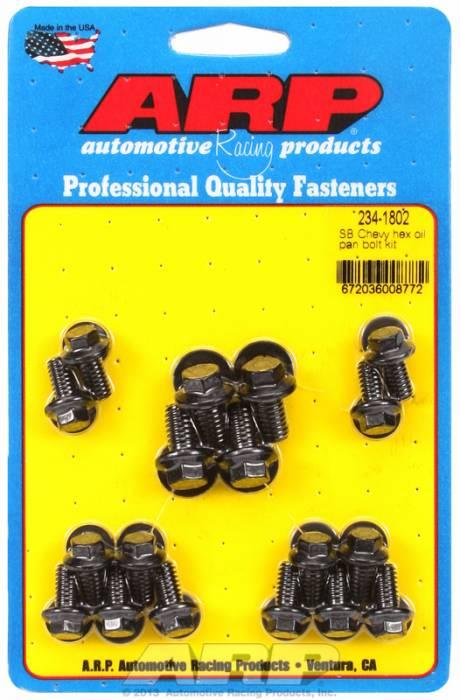 ARP - ARP2341802 - ARP Oil Pan Bolt Kit- Small Block Chevy- Black Oxide- 6 Point