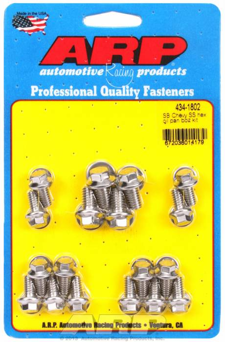 ARP - ARP4341802 - ARP Oil Pan Bolt Kit- Small Block Chevy- Stainless Steel- 6 Point