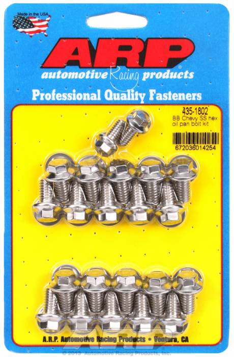ARP - ARP4351802 -ARP Oil Pan Bolt Kit- Big Block Chevy- Stainless Steel- 6 Point