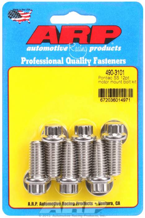 ARP - ARP4903101 - ARP Motor Mount Bolt Kit- Pontiac V8-Stainless Steel- 12 Point Head