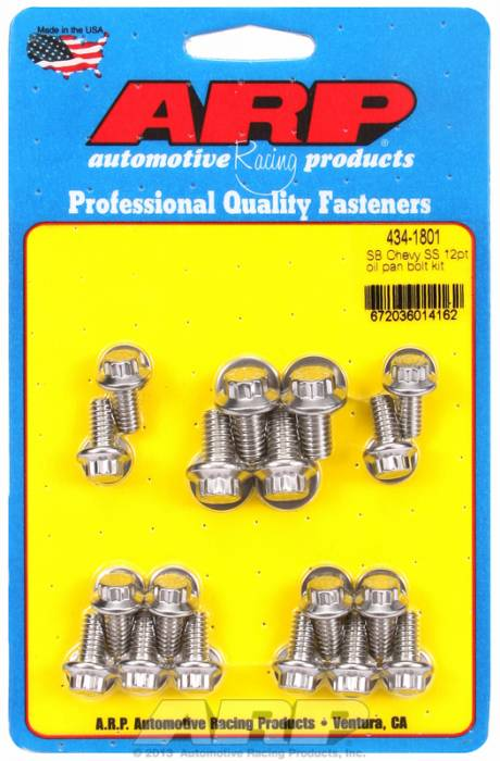ARP - ARP4341801 -ARP Oil Pan Bolt Kit- Small Block Chevy- Stainless Steel- 12 Point