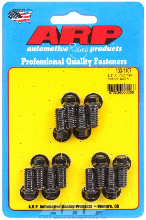 "ARP - ARP1001107 - ARP Header Bolt Kit- Universal Application - 3/8""X .750""- Black Oxide- 6 Point Nuts-Qty.-12"