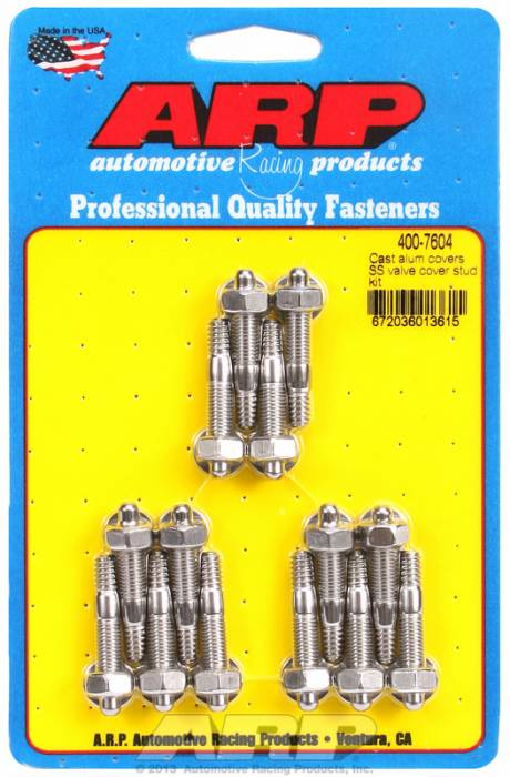 "ARP - ARP4007604 - ARP Valve Cover Stud  Kit - For Cast Aluminum Covers- 1/4""-20 X 1.50"" - Stainless Steel - 6 Point Head-Qty.-14"