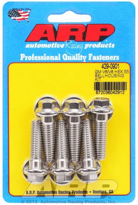 "ARP - ARP4290901 - Chevrolet V6 & V8, Bellhousing to Engine Block Bolt Kit, Stainless Steel, Hex Head, 1.375"" UHL, 3/8-16 Thread"