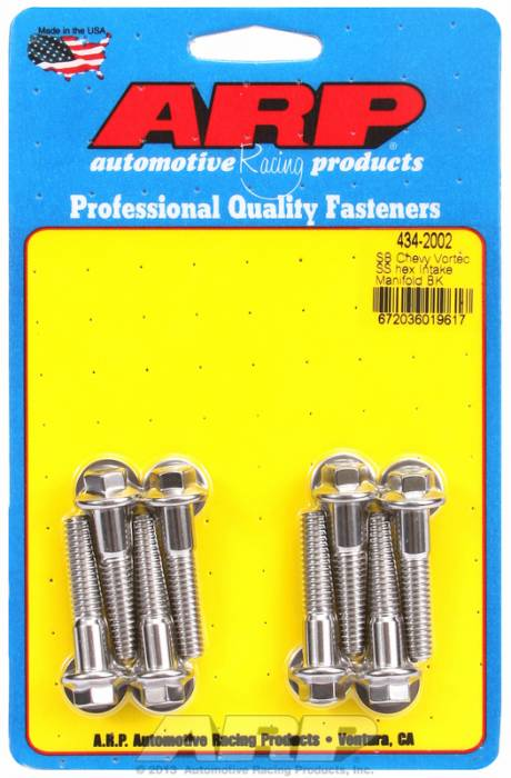 ARP - ARP4342002 - ARP Intake Manifold Bolt Kit- Chevy Small Block-Vortec Heads- Stainless Steel- 6 Point Head