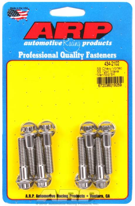 ARP - ARP4342102 - ARP Intake Manifold Bolt Kit- Chevy Small Block-Vortec Heads-Stainless Steel- 12 Point Head