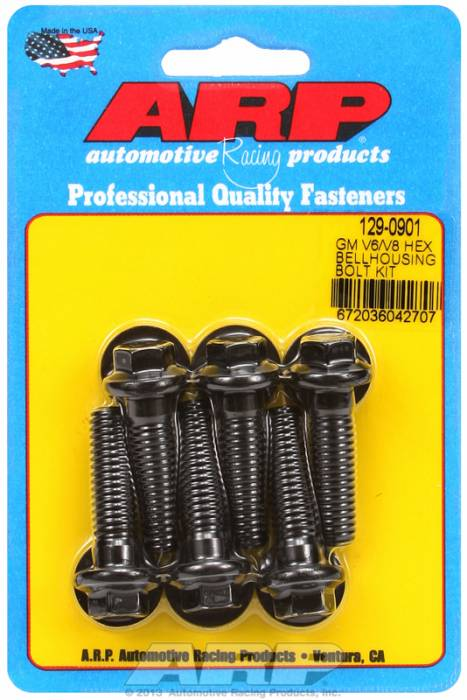 "ARP - ARP1290901 - Chevrolet V6 & V8, Bellhousing to Engine Block Bolt Kit, Black Oxide, Hex Head, 1.375"" UHL, 3/8-16 Thread"