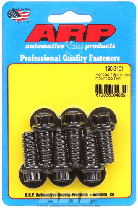 ARP - ARP1903101 - ARP Motor Mount Bolt Kit- Pontiac V8-Black Oxide- 12 Point Head