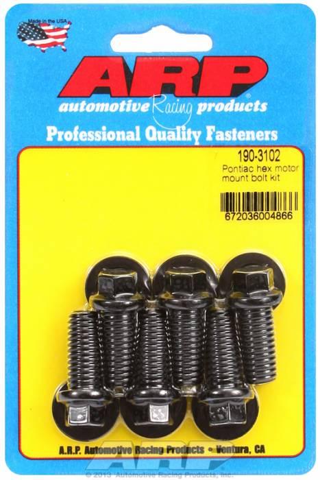 ARP - ARP1903102 - ARP Motor Mount Bolt Kit- Pontiac V8- Black Oxide- 6 Point Head