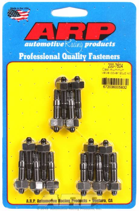 "ARP - ARP2007604 - ARP Valve Cover Stud  Kit - For Cast Aluminum Covers- 1/4""-20 X 1.50"" - Black Oxide - 6 Point Head-Qty.-14"