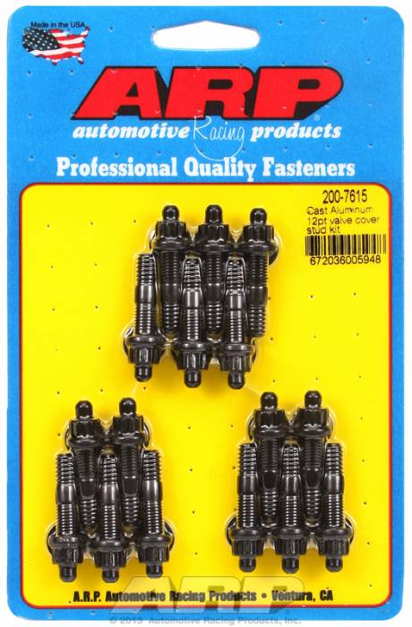 "ARP - ARP2007615 - ARP Valve Cover Stud  Kit - For Cast Aluminum Covers- 1/4""-20 X 1.50"" - Black Oxide - 12 Point Head-Qty.-16"