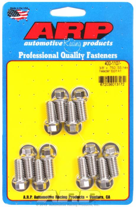 "ARP - ARP4001107 -ARP Header Bolt Kit- Universal Application - 3/8""X .750""- Stainless Steel- 6 Point Nuts-Qty.-12"