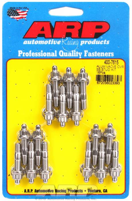 "ARP - ARP4007615 - ARP Valve Cover Stud  Kit - For Cast Aluminum Covers- 1/4""-20 X 1.50"" - Stainless Steel - 6 Point Head-Qty.-16"