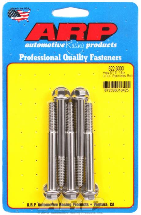 "ARP - ARP6223000 - ARP Sae Bolt Kit, 5/16-18, 3.000 Uhl, 1.000 Thread Length, 2.000 Grip Length, 3/8"" Wrenching, Stainless Steel, Hex Head, 5 Pack"