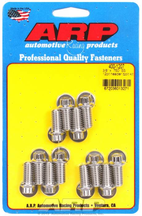 """ARP - ARP4001207 - ARP Header Bolt Kit- Universal Application - 3/8""""X .750""""- Stainless Steel- 12 Point Nuts-Qty.-12"""