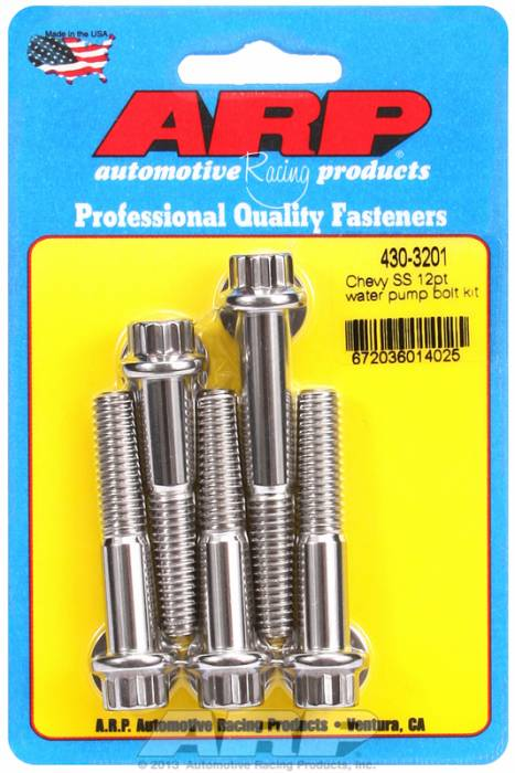 ARP - ARP4303201 - ARP Water Pump Bolt Kit- Chevy V8- Stainless Steel- 12 Point Head
