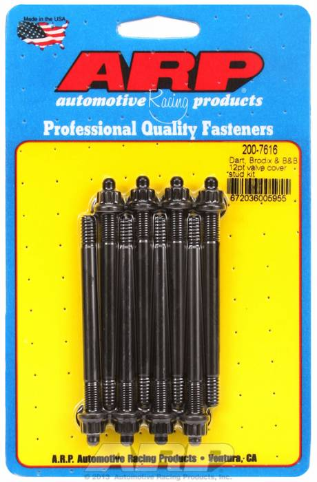 "ARP - ARP2007616 - ARP Valve Cover Stud  Kit - For Cast Aluminum Covers- 1/4""-20 X 3.50"" - Black Oxide - 12 Point Head-Qty.-8"