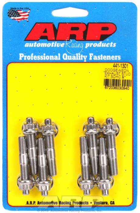 "ARP - ARP4411301 - ARP Header Stud Kit- Chrysler Neon SOHC & DOHC M8 X 2.00""- Stainless Steel- 12 Point Nuts-Qty.-8"