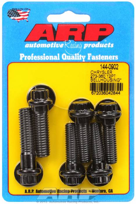 ARP - ARP1440902 -  Bellhousing to Engine Block Bolt Kit, Chrysler/Dodge 273-318-340-360 Wedge, Black Oxide, 12-Point Head, Stud OAL 1.375, 3/8-16, Bolt OAL 1.50/1.750, 7/16-14