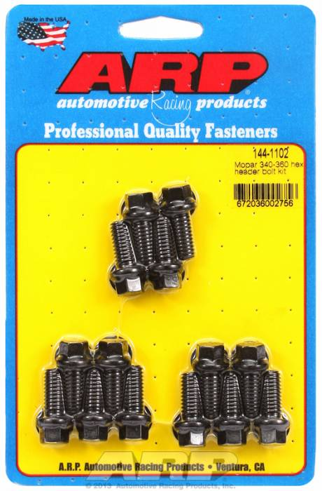 "ARP - ARP1441102 -ARP Header Bolt Kit- Chrysler - 5/16"" X .750""- Black Oxide- 6 Point Nuts-Qty.-14"