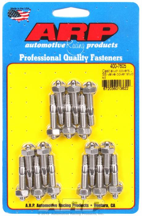 "ARP - ARP4007605 - ARP Valve Cover Stud  Kit - For Cast Aluminum Covers- 1/4""-20 X 1.50"" - Stainless Steel - 6 Point Head-Qty.-16"