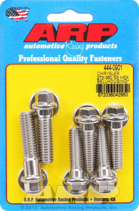 ARP - ARP4440901 - Bellhousing to Engine Block Bolt Kit, Chrysler/Dodge 273-318-340-360 Wedge, Stainless, Hex Head, Stud OAL 1.375, 3/8-16, Bolt OAL 1.50/1.750, 7/16-14