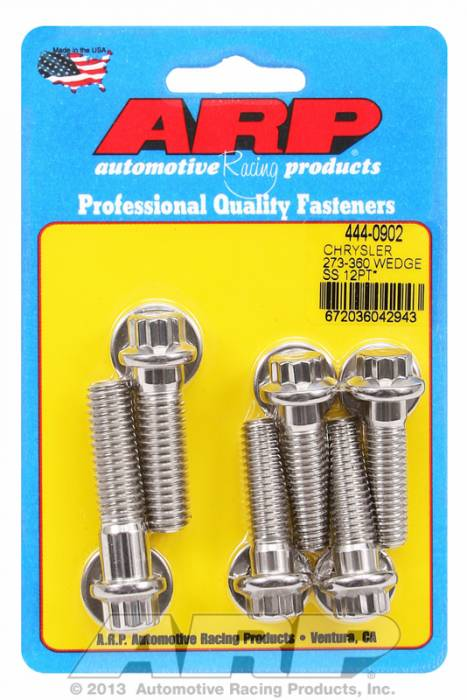ARP - ARP4440902 - Bellhousing to Engine Block Bolt Kit, Chrysler/Dodge 273-318-340-360 Wedge, Stainless, 12-Point Head, Stud OAL 1.375, 3/8-16, Bolt OAL 1.50/1.750, 7/16-14